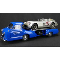 Mercedes Racing Car Transporter/Mercedes 300 SLR Dirty Hero #701 Set  - 1955 Mille Miglia 1:18