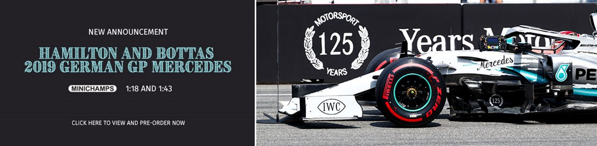 1:18 and 1:43 Hamilton and Bottas 2019 German GP Mercedes models from Minichamps