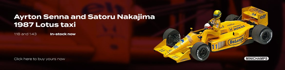 1:18 and 1:43 Senna and Nakajima 1987 Lotus taxi diecast model car review