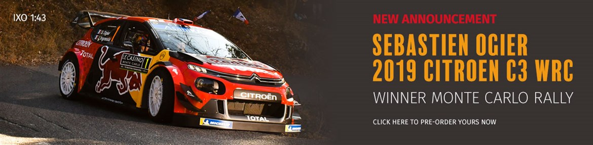 1:43 Ogier 2019 Citroen C3 WRC Monte Carlo model from IXO
