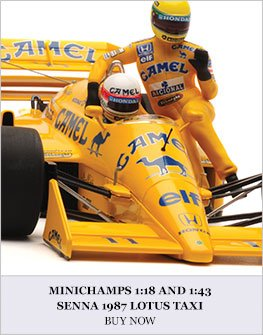 Minichamps 1:18 and 1:43 Senna 1987 Lotus Taxi Diecast Model Car Review