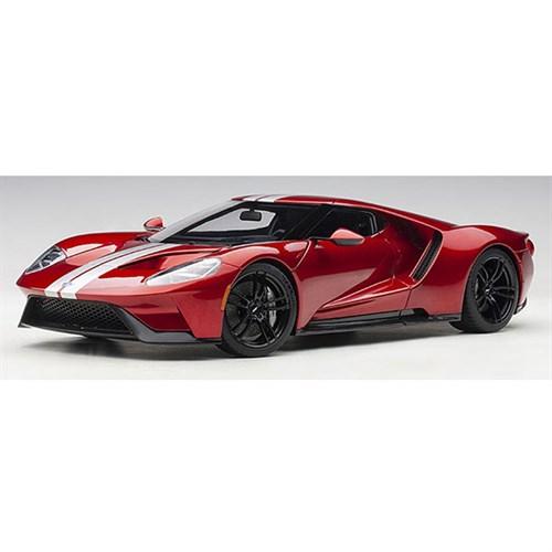 Autoart Ford Gt  Liquid Red Silver Stripes  Aa