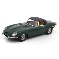 KK Jaguar E-Type Cabriolet Series 1 1961 Roof Up - British Racing Green 1:18