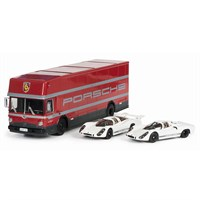 Schuco Porsche Transporter & Race Car Set - 70 Years Porsche 1:43