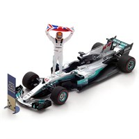 Mercedes F1 W08 w. Figure, Flag & Marker Board - 2017 Mexican Grand Prix World Champion - #44 L. Hamilton 1:43