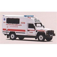 TrueScale Miniatures Land Rover Defender 130 Ambulance - Hong Kong Fire Service 1:43
