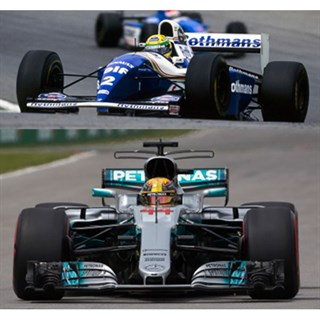Minichamps Williams FW16 1994 & Mercedes F1 W08 2017 - A. Senna & L. Hamilton 65 Poles - Two Car Set 1:43
