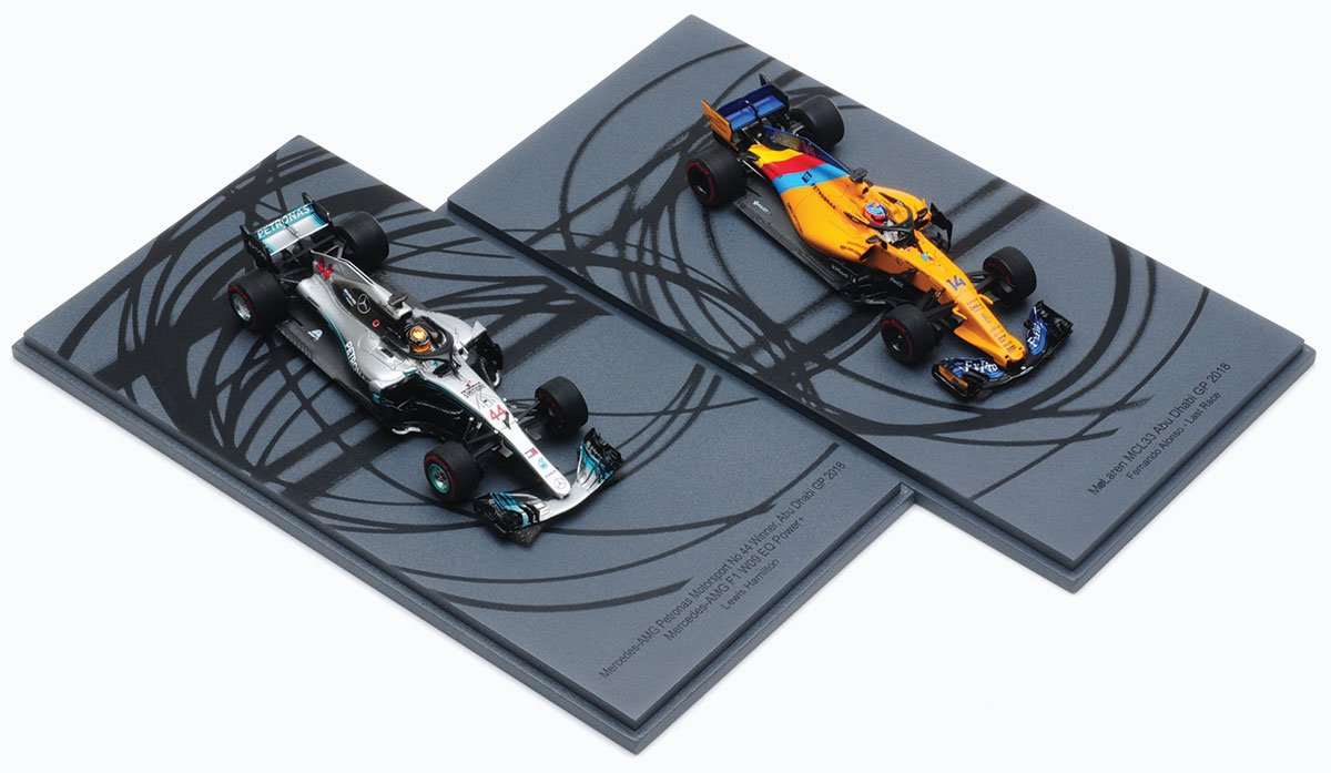Spark 1:43 Hamilton and Alonso 2018 Abu Dhabi GP Specials Diecast Model Car Review