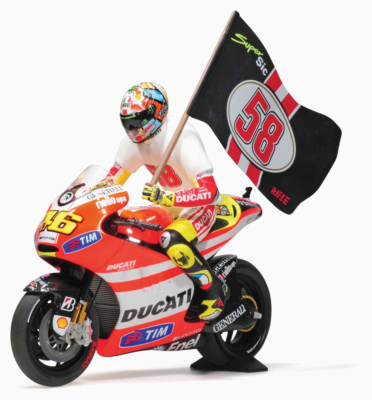 1:12 Rossi 2011 Ducati Desmosedici GP11.2 model with Figure and Flag from Minichamps